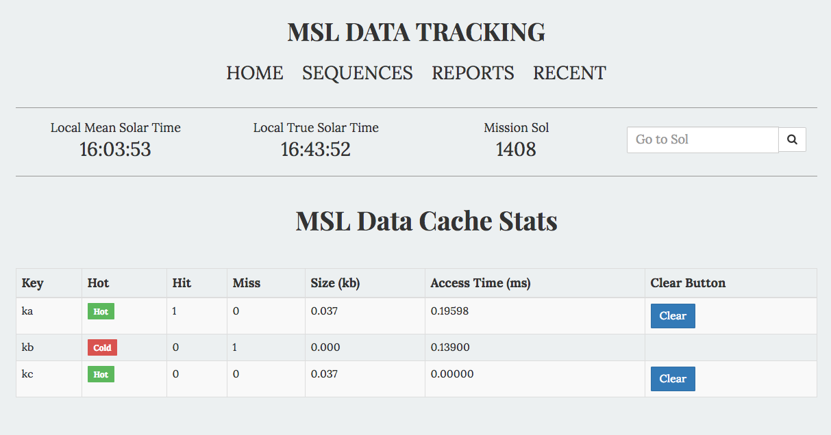 Msldata cache usage example